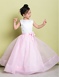 A-line Floor-length Flower Girl Dress - Organza Satin Scoop with Flower(s)