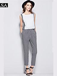 Women's Cotton Jumpsuits Short Sleeve Party/Work