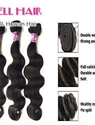 "4Pcs Lot 8""-30"" Malaysian Virgin Hair Body Wave Natural Black Human Hair Weave Bundles"