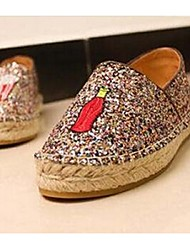 Women's Shoes Fabric Flat Heel Comfort Loafers Casual Gold
