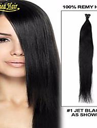 "de calidad superior 18 ""-28"" múltiples colores, 1g / s, 100s / pack extensión del pelo de punta palillo pre-bonde inclino natural de la"