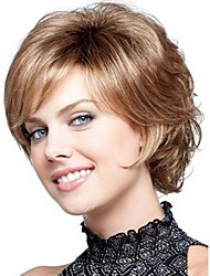 New Wig Heat Resistant Cosplay New Short Light Brown Mix Curly Women's Full Wig
