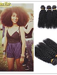 3 unidades / lote 8a 100% brasileira virgem do cabelo humano extensão de tecelagem do cabelo sexy e bonita remy cacheado carapinha trama