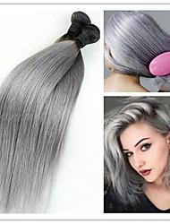 3pcs / lot Vendita calda estensioni dei capelli brasiliani vergini ombre rette 1b / grigio due toni capelli umani del tessuto