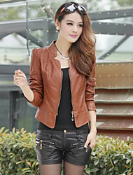 Lina Women'S Korean Short Paragraph Slim Washed Leather Motorcycle Lady