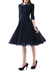Women's Vintage / Party Solid A Line / Ball Gown Dress , Round Neck Midi Cotton