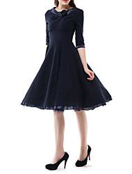 Damen Kleid - A-Linie Retro / Party Solide Midi Baumwolle Rundhalsausschnitt