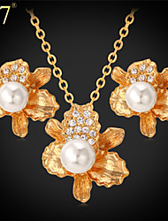 U7® Women's Flower Stud Earrings Platinum Plated/Gold Plated Clear Rhinestone Necklace Creamy White Pearl Jewelry Set