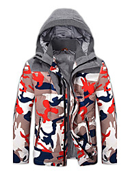 Men's Regular Down Coat,Simple / Active / Chinoiserie Plus Size / Casual/Daily Solid / Camouflage-Cotton / PolyesterPolypropylene / White