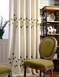 One Panel Light Green Grass Linen  Cotton Embroidery Curtain Drape