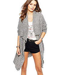 Fashion Large Turn-down Collar Cardigan Knitted Irregular Long Women Sweater Coat