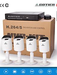 "kits nvr cotier® poe 4ch 720p 1/3 ""sensor CMOS / exterior / Waterfroof / bala cámara ip n4b3 / kit-poe"