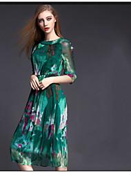 Summer Europe and America Thin Slim Elegant Round Neck Dress Printing Silk Dress Women High Quality Dress HNZ0805