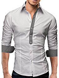 Men's Plaids / Solid Casual / Work / Formal Shirt,Cotton Blend Long Sleeve Black / White