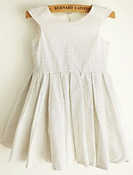 Princess Polka Dot Knee-length Flower Girl Dress - Cotton Sleeveless