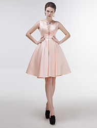 Knee-length Satin / Tulle Bridesmaid Dress A-line Jewel with Crystal Detailing