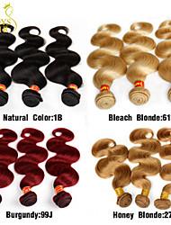 3 stuks brazilian maagd haar body wave natuurlijke zwart / honing blonde 27 / bleekwater blonde 613 / bordeaux rood 99j menselijk haar