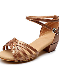 Non Customizable Women's / Kids' Dance Shoes Latin Flocking Chunky Heel Brown