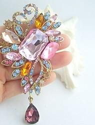 Gorgeous 4.33 Inch Gold-tone Multicolor Rhinestone Crystal Drop Flower Brooch Pin Art Deco