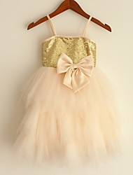 Princess Knee-length Flower Girl Dress - Satin Tulle Sequined Spaghetti Straps with Bow(s) Sequins