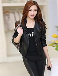 Women's Black Jackets , Casual Turtleneck Long Sleeve