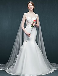 Trumpet / Mermaid Wedding Dress Cathedral Train Scoop Tulle with