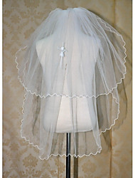 Wedding Veil Two-tier Communion Veils Pencil Edge(Comb Not Include)