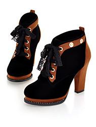 Calçados Femininos Courino Salto Agulha Trabalho & Segurança Botas Escritório & Trabalho/Social/Casual Azul/Marrom