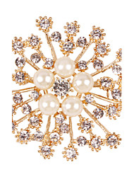 European and American fashion temperament all-match imitation pearl diamond snowflake brooch brooch pearl scarf buckle 0195#