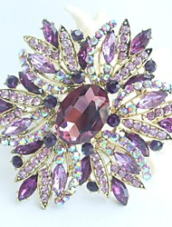 Gorgeous 3.94 Inch Gold-tone Purple Rhinestone Crystal Flower Brooch Art Deco