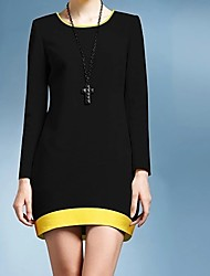 Women's Black/Yellow Dress , Casual/Work Round Neck Long Sleeve