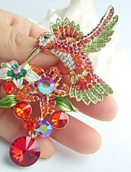 3.54 Inch Gold-tone Multicolor Rhinestone Crystal Hummingbird Brooch Art Deco