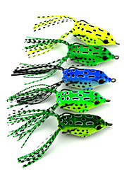 "5 pcs Soft Bait Fishing Lures Soft Bait Frog Green Yellow Light Green Forest Green Blue g/Ounce,55 mm/2-1/4"" inch,Hard PlasticSea Fishing"