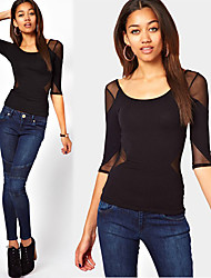 FLOWER    Women's T-Shirts , Mesh Sexy/Bodycon/Casual FLOWER