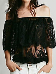 Women's  Vintga Sexy Beach Casual Lace ,Short Sleeve Strapless Pocket/Lace/Ruffle Blouse (Lace)
