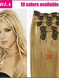 70-120g (7pcs) / set brazilian virgin hair 10 kleuren clip in hair extensions straight clip in human hair extensions