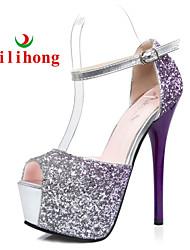 rilihong®Women's Shoes Glitter Stiletto Heel Heels/Peep Toe/Platform Pumps/Heels Dress Blue/Purple/Red