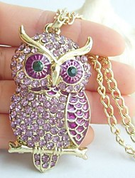 Charming Owl Necklace Pendant With Purple Rhinestone Crystals