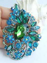 Wedding 3.54 Inch Gold-tone Blue Green Rhinestone Crystal Flower Brooch Pendant Art Decorations