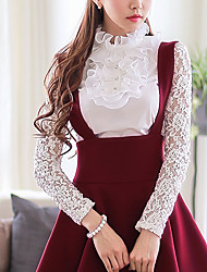 Women's Stand Button/Lace/Ruffle Tops & Blouses , Elastic/Polyester Bodycon/Casual/Work Long Sleeve DABUWAWA