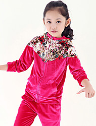 Girl's Sports Floral Print Stitching Hoodie Clothing Sets(Coat&Pants)