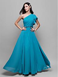 Ankle-length Chiffon Bridesmaid Dress A-line One Shoulder