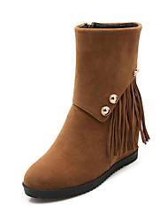 Calçados Femininos Courino Anabela Arrendondado/Botas da Moda Botas Escritório & Trabalho/Social Preto/Amarelo/Vermelho/Bege