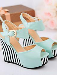 Women's Shoes Black/Blue/Pink/Almond Wedge Heel Sandals (PU)
