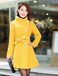 Women's Long Sleeve Cotton Blends Trench Coat , Casual/Party Winter Coat Red/Black/Yellow/Beige/Gray