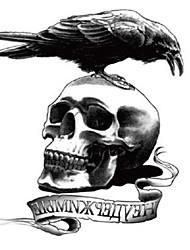 10 Pcs Skull  Crow Cool Tough Man Temp Tattoo Stickers