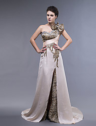 Dress - Champagne Sheath/Column One Shoulder Floor-length Satin Chiffon