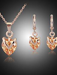 Niedlich / Party / Büro - Damen - Halskette / Ohrring ( Rose Gold überzogen / Zirkonia )
