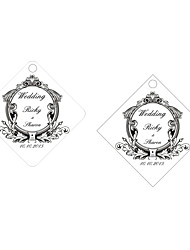 Personalized Rhombus Wedding Favor Tags - Black & White Design (Set of 36)
