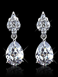 Wedding Cubic Zirconia Silver Long Earrings Elegant Jewelry Rhodium Plated Drop Earrings For Women